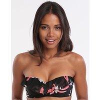 Seafolly Desert Flower Bustier Bandeau Bikini Top - Black
