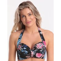 Seafolly Water Garden Twist Soft Cup Halter Bikini Top - Black