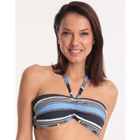 Moontide Amalfi Ruched Bandeau Bikini Top - Navy