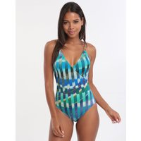 Gottex Highline Surplice Swimsuit - Multi Blue