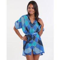 Gottex Mystic Gem Blouse Dress - Multi Blue