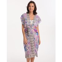 Gottex Felicity Open Kimono with Belt - Multi Purple