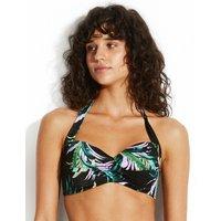 Seafolly Las Palmas Twist Soft Cup Halter Bikini Top - Black