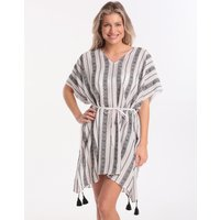 Seafolly Las Palmas Lattice Jacquard Stripe Kaftan - White