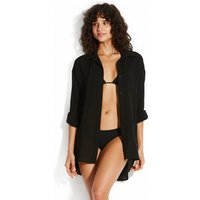 Seafolly Sunflower Classic Beach Shirt - Black