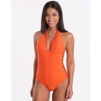 Ted Baker Faux Lattice Mesh Swimsuit - Orange