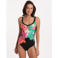 Charmline Flower Splash D Cup Adjustable Leg Swimsuit - Black Multi