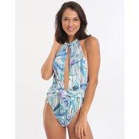 Gottex Exotic Paradise Deep Plunge High Neck Swimsuit - Multi Blue