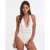 Gottex Finesse Deep Plunge Halter Swimsuit - White