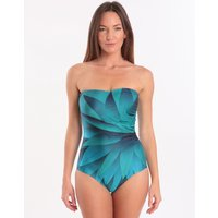 Seaspray Seaspray Oneta Side Gather Draped Bandeau Swimsuit - Blue Palm