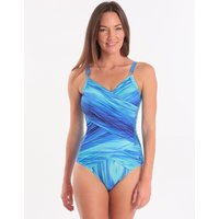 Seaspray Oia Ombre Double Draped Crossover Swimsuit- Blue Ombre Wave