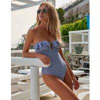 Melissa Odabash Corfu Bandeau Swimsuit - Navy Gingham