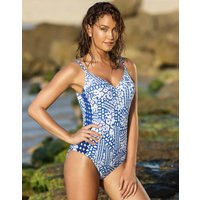 Gottex Gottex Profile Diamond Batik V Neck Swimsuit - Multi Blue