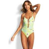 Seafolly On Vacation Ring Front Swimsuit- Limeade