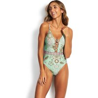 Seafolly Free Spirit Lace Up Swimsuit - Fresh Mint