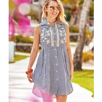 Iconique Elsa Sleeveless Shirt Dress - Stripe