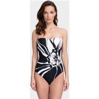 Gottex Midnight Rose Bandeau Swimsuit - Black/White