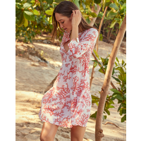 Heidi Klein Belize Silk V Neck Tunic Dress - Coral
