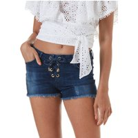Melissa Odabash Alexi Lace Up Front Denim Shorts - Denim