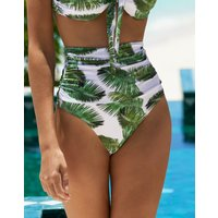 Melissa Odabash Caribe High Waisted Bikini Bottom - Palm White