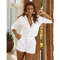 Melissa Odabash Honour Denim Shirt Playsuit - White