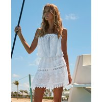 Melissa Odabash Iris Crochet Embroidered Bandeau Short Dress - White