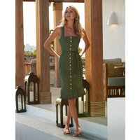 Melissa Odabash Ruby Button Front Fitted Denim Midi Dress - Olive