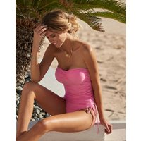 Melissa Odabash Sydney Adjustable Ruched Bandeau Swimsuit - Rose