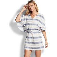 Seafolly Linen Stripe Kaftan - White