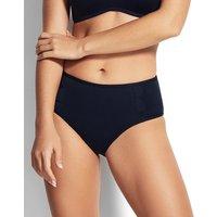 Seafolly Swim Petal Edge Mid Rise Bikini Bottom - Black