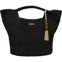 Heidi Klein Grace Bay Mini Raffia Bucket Bag - Black