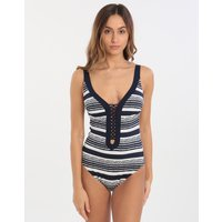 Maryan Mehlhorn Cruise Plunge Lace Up Detail One Piece - Navy