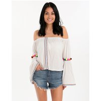 Pitusa Pom Pom Crop Top - White