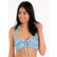 Seafolly Blue Bazaar Soft Cup Halter - Blue Mist