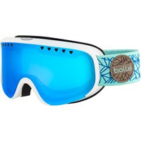 Bolle Womens Scarlett Ski Goggle - Matte White/Blue Diamond with Phantom Vermillon Blue Lens