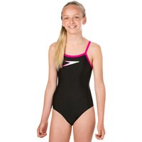 Speedo Girls Endurance 10 Placement Thinstrap Muscleback Swimsuit - Black and Pink