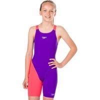 Speedo Girls Fastskin Endurance Plus Openback Kneeskin - Purple and Red