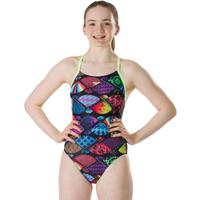 Speedo Girls Endurance Plus Tranquil Fan Thinstrap Crossback Swimsuit