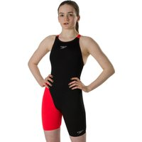 Speedo Girls Fastskin Endurance Plus Openback Kneeskin - Black/Red