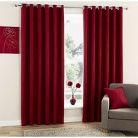 Faux Suede Ready Made Eyelet Curtains Red