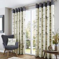 Idaho Ready Made Eyelet Lined Curtains Charcoal