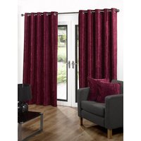 Velvet Ready Made Eyelet Curtains Red