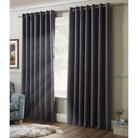 Blackout Ready Made Eyelet Curtains Silver