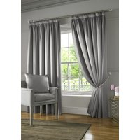 Burj Ready Made Lined Curtains Silver