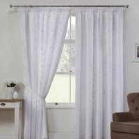 Como Linen Look Ready Made Lined Voile Curtains In White