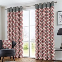 Copeland Ready Made Eyelet Lined Curtains Red