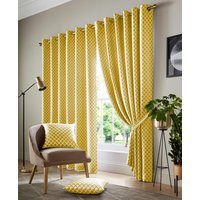 Cotswold Ready Made Lined Eyelet Curtains Ochre