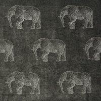 Elephant Curtain Fabric Grey