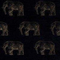 Elephant Curtain Fabric Noir