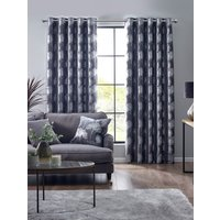 Enchanted Forest Ready Made Eyelet Curtains Charcoal